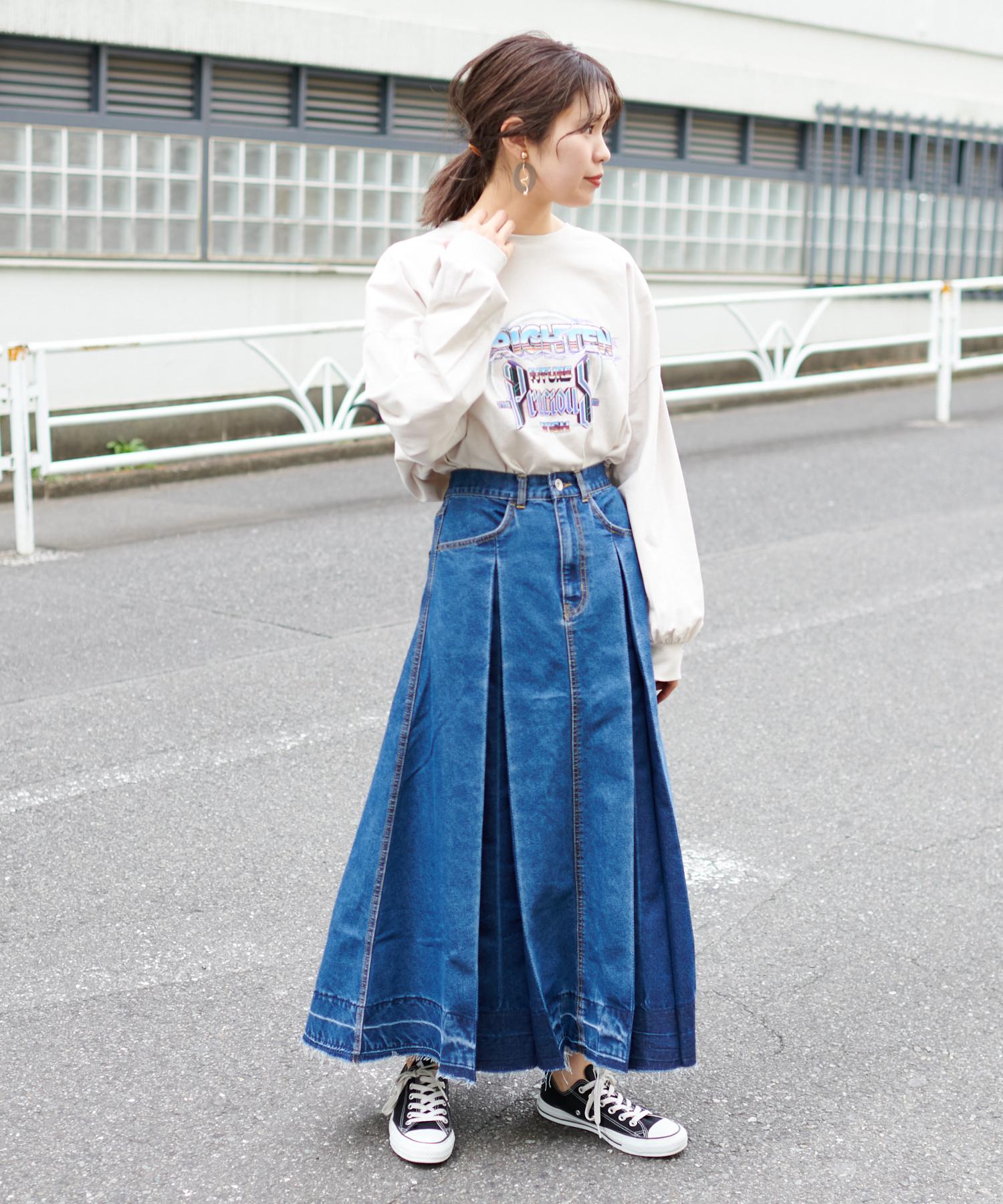 裾ダメージ デニムフレアスカート