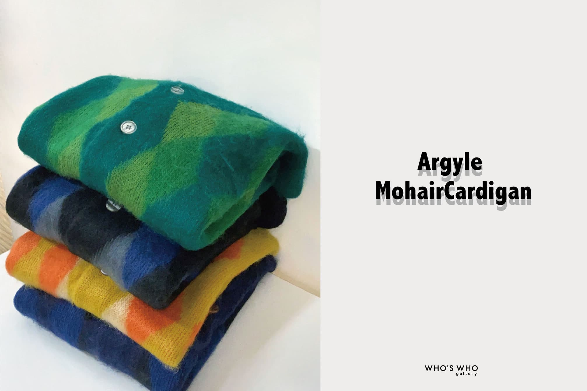 WHO'S WHO gallery 【Argyle Mohair Cardigan】