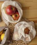 3COINS(スリーコインズ) 【食材の保存や収納におすすめ】メッシュ巾着2枚セット