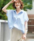 un dix cors(アンディコール) 【ヘルシーな印象】ストライプバックボリュームスキッパーシャツ