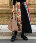 Chez toi(シェトワ) 【WEB限定】異素材切替フレアスカート