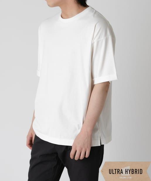 COLONY 2139(コロニー トゥーワンスリーナイン) メンズ 【ULTRA HYBRID】 USAコットン袖折り返し半袖Tシャツ ホワイト