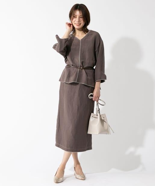 OUTLET premium(アウトレット プレミアム) 【手洗い可】レーヨンリネンポプリンナロースカート