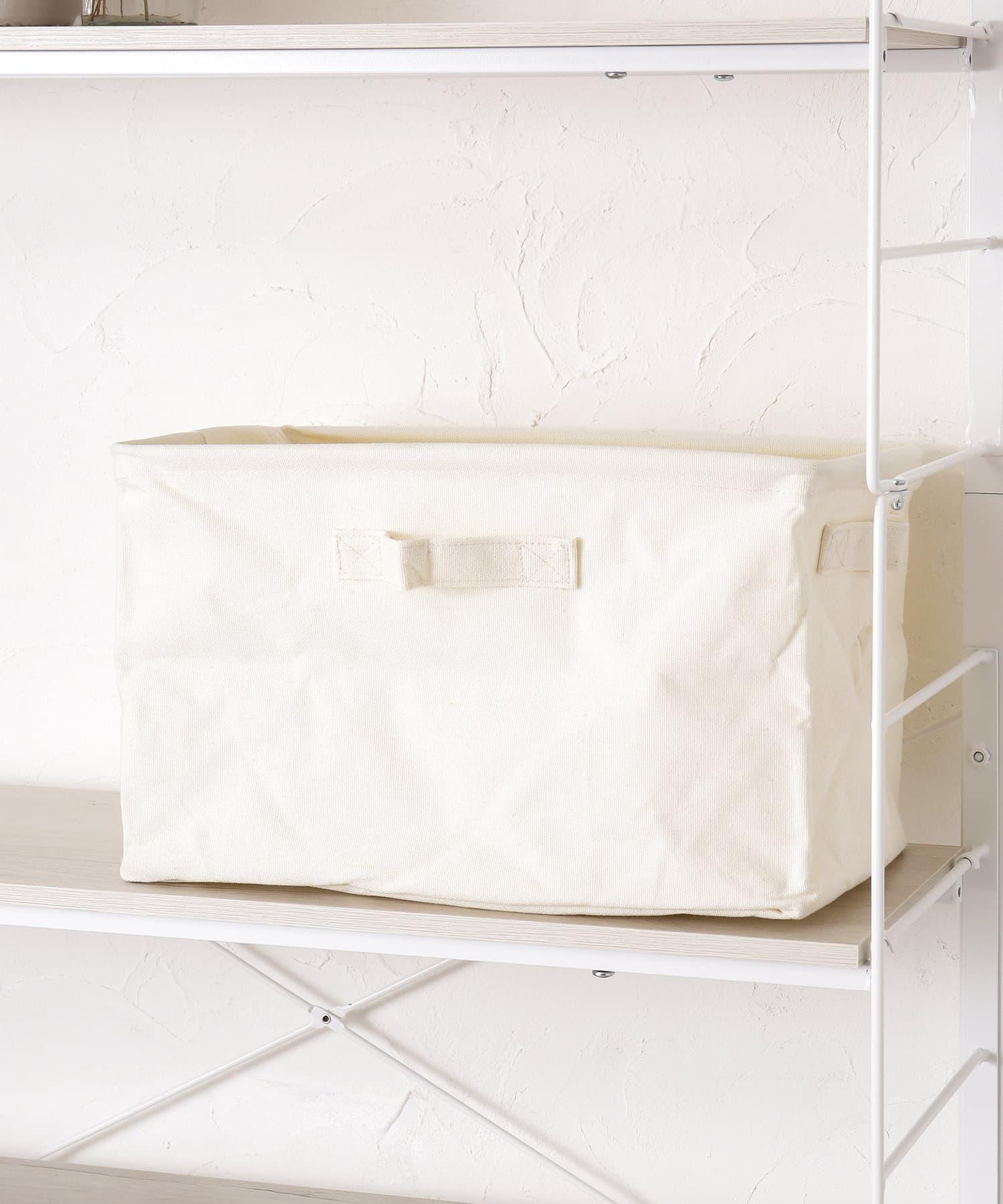 3COINS(スリーコインズ) ライフスタイル コットンワイド収納ボックス アイボリー