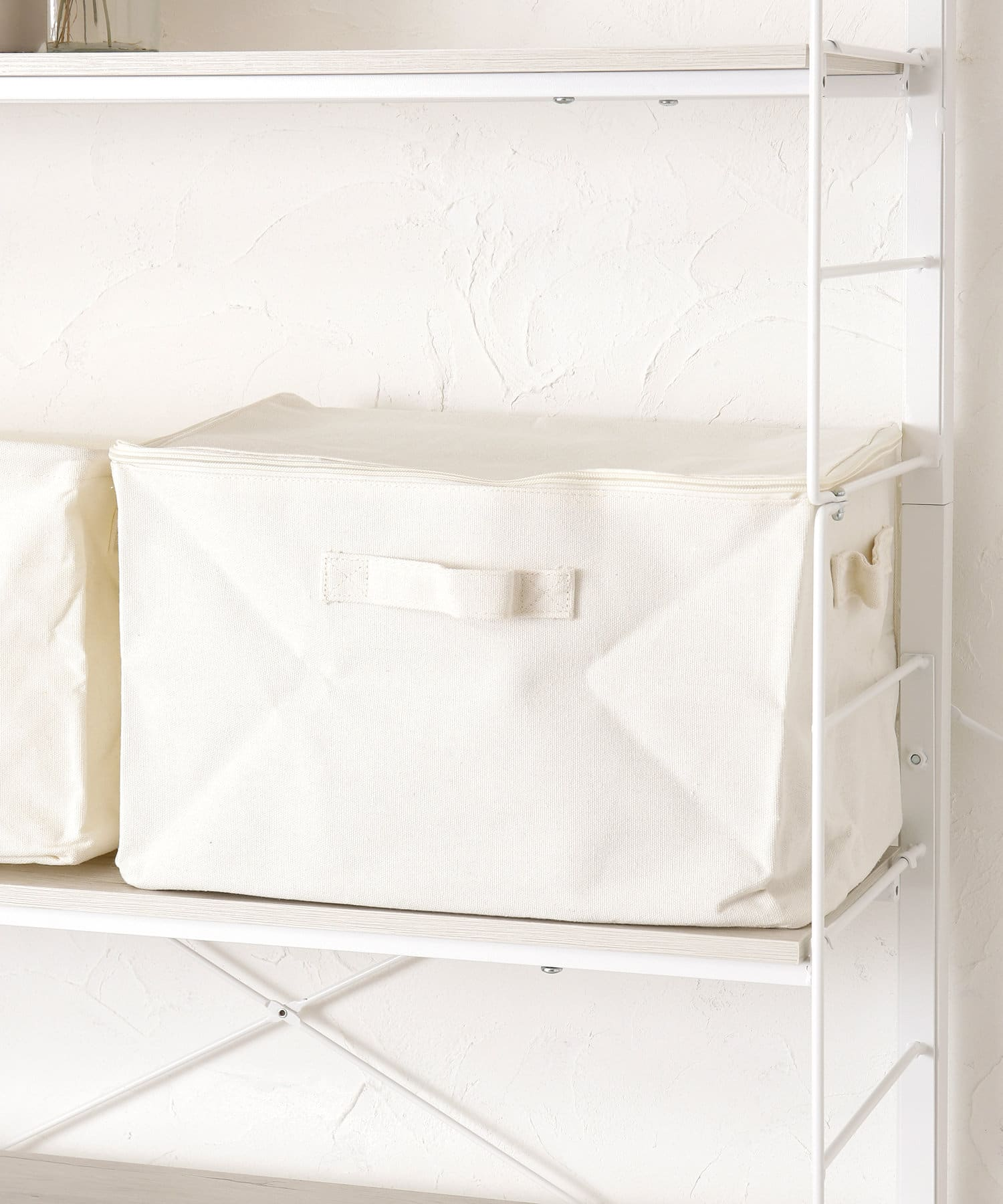 3COINS(スリーコインズ) ライフスタイル コットンフタ付ワイド収納ボックス アイボリー