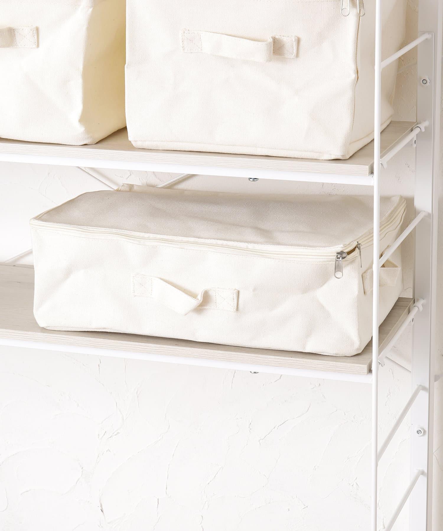 3COINS(スリーコインズ) ライフスタイル コットンフタ付フラット収納ボックス アイボリー