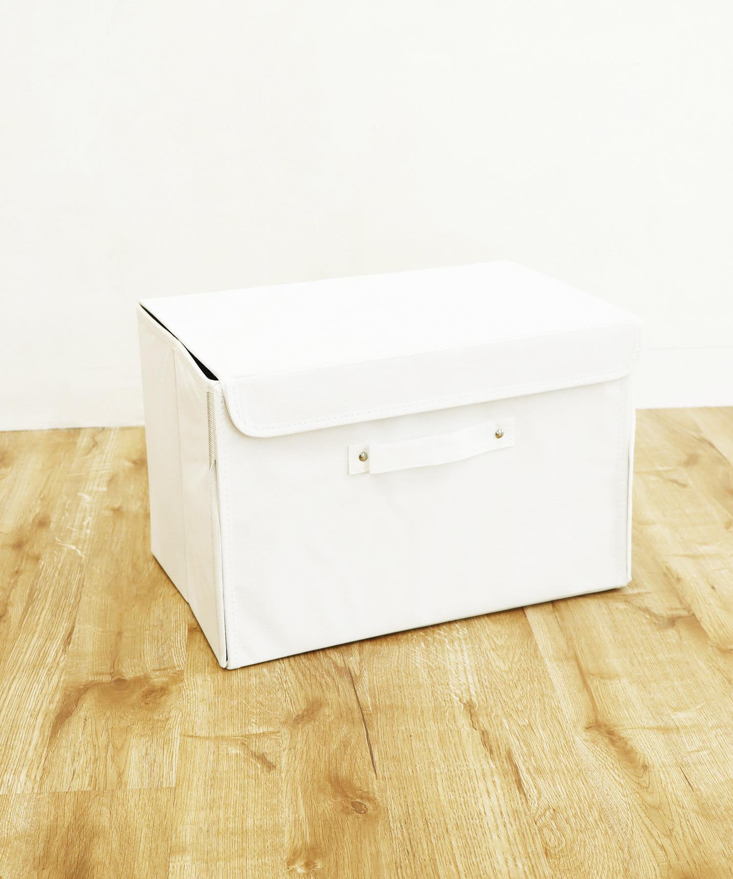 3COINS(スリーコインズ) ライフスタイル フタ付前開きワイドボックス ホワイト