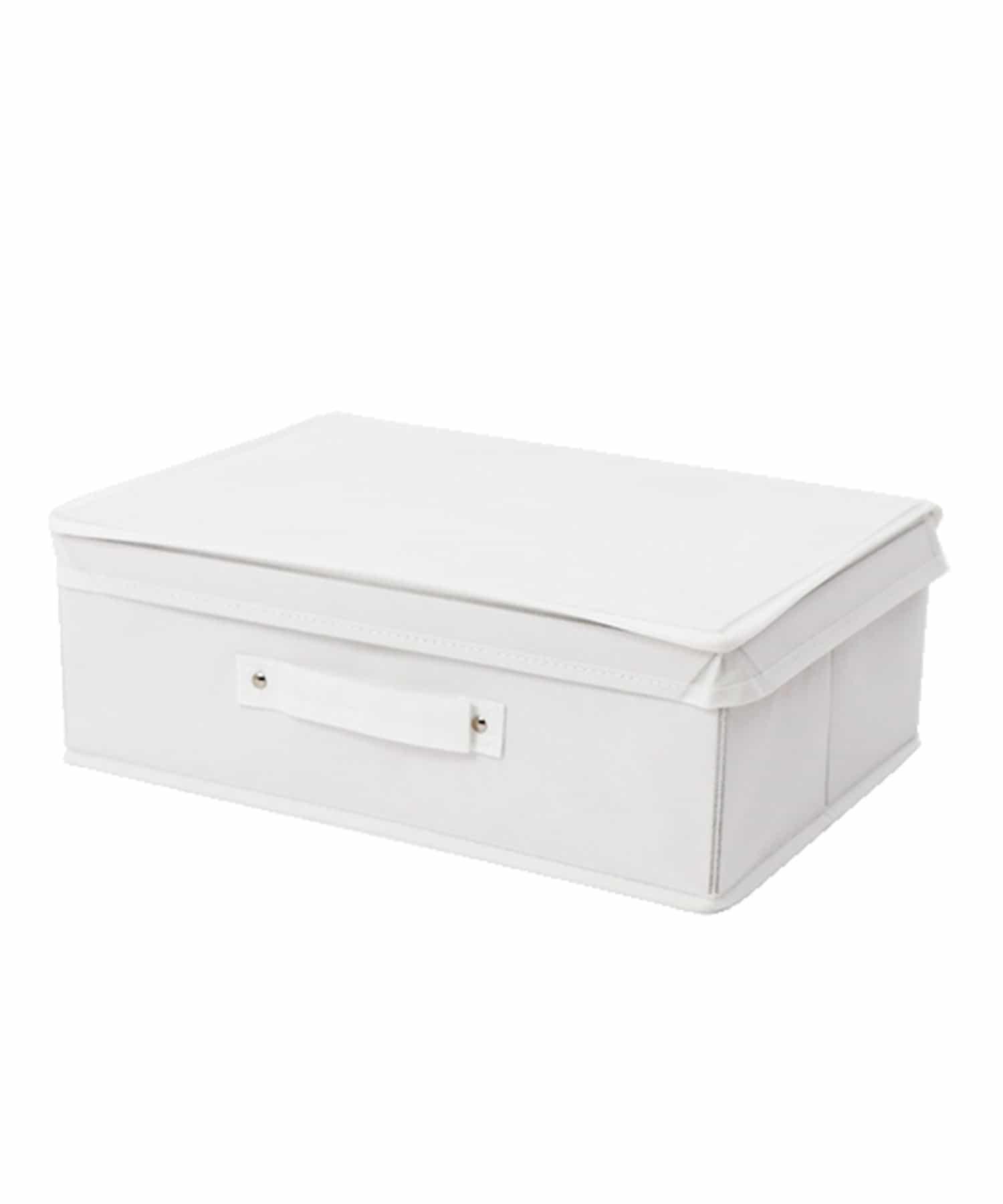 3COINS(スリーコインズ) ライフスタイル フタ付フラットボックス ホワイト