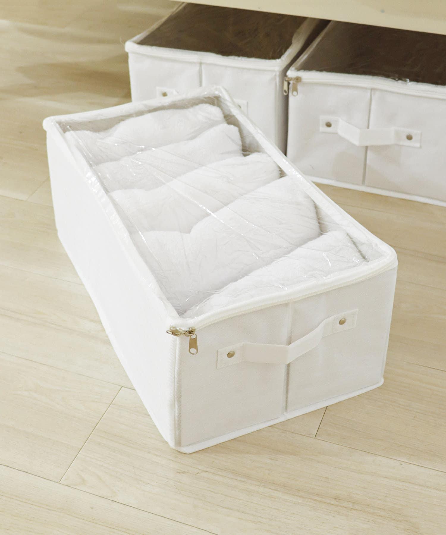 3COINS(スリーコインズ) ライフスタイル 透明フタ付収納ボックス ホワイト