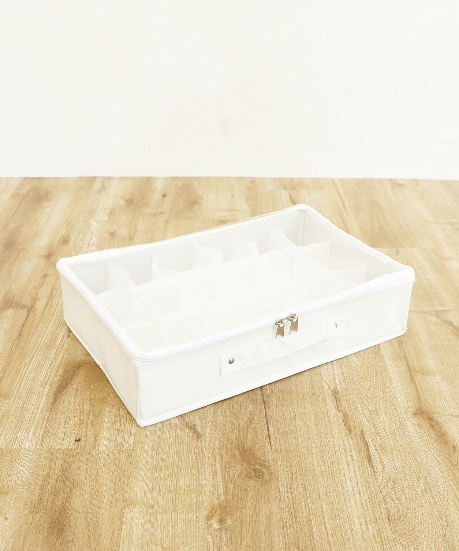 3COINS(スリーコインズ) ライフスタイル 透明フタ付18小分けボックス ホワイト