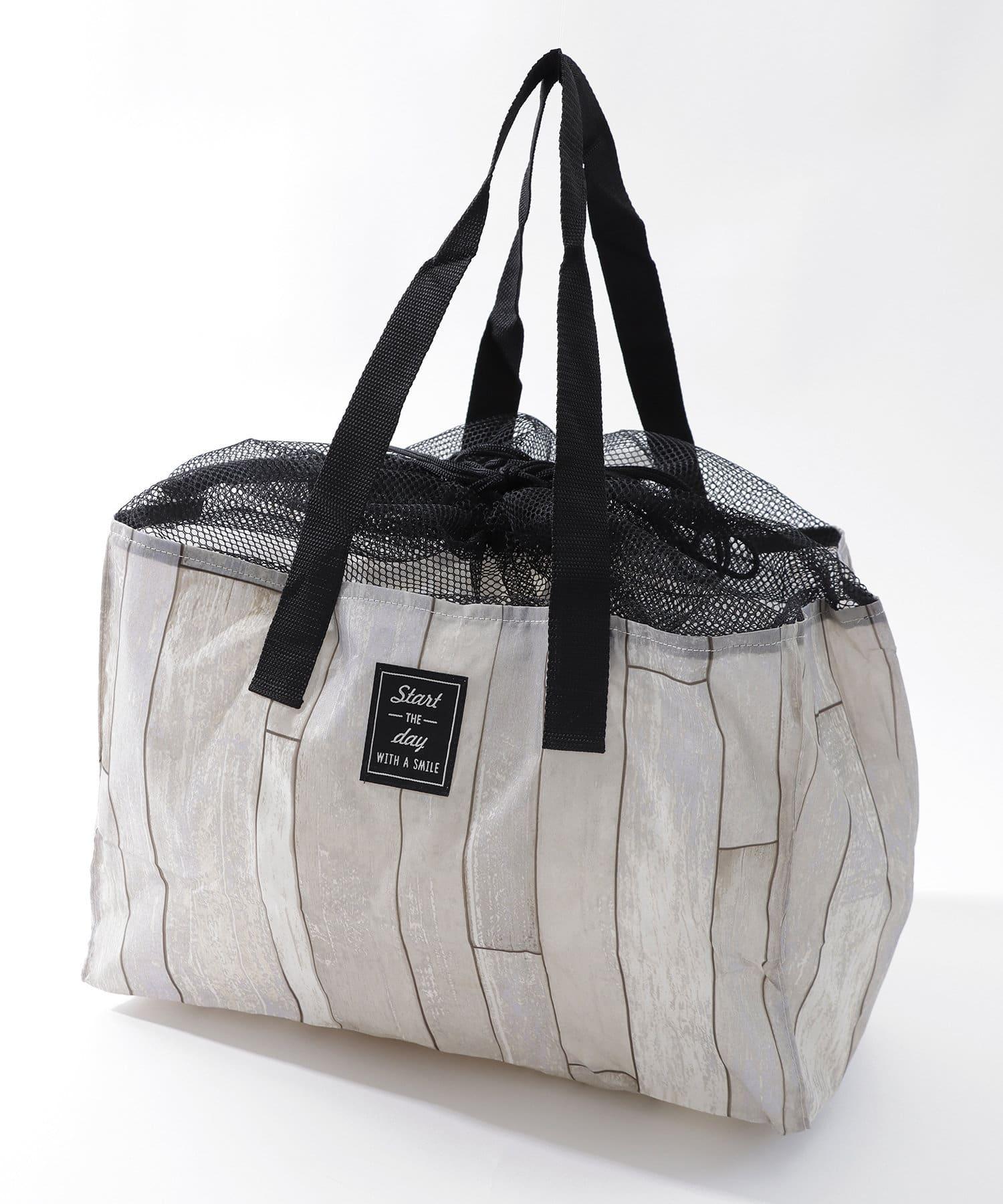 3COINS(スリーコインズ) ライフスタイル 買い物かごバッグ ホワイト