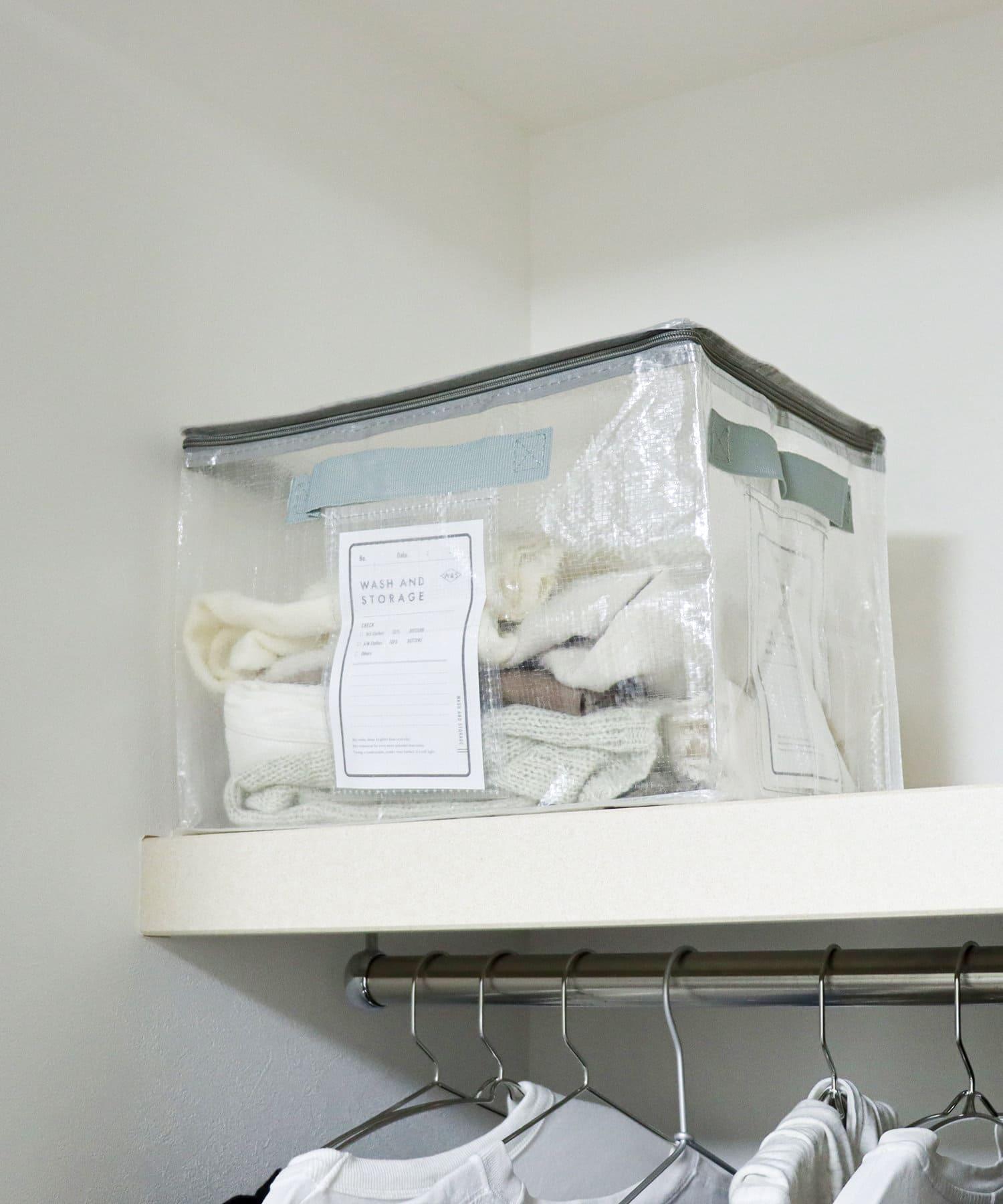 3COINS(スリーコインズ) フタ付きクリアワイドボックス