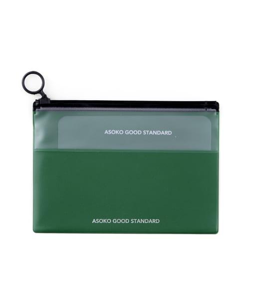 3COINS(スリーコインズ) レディース 【ASOKO】A6 Zipperポーチ グリーン