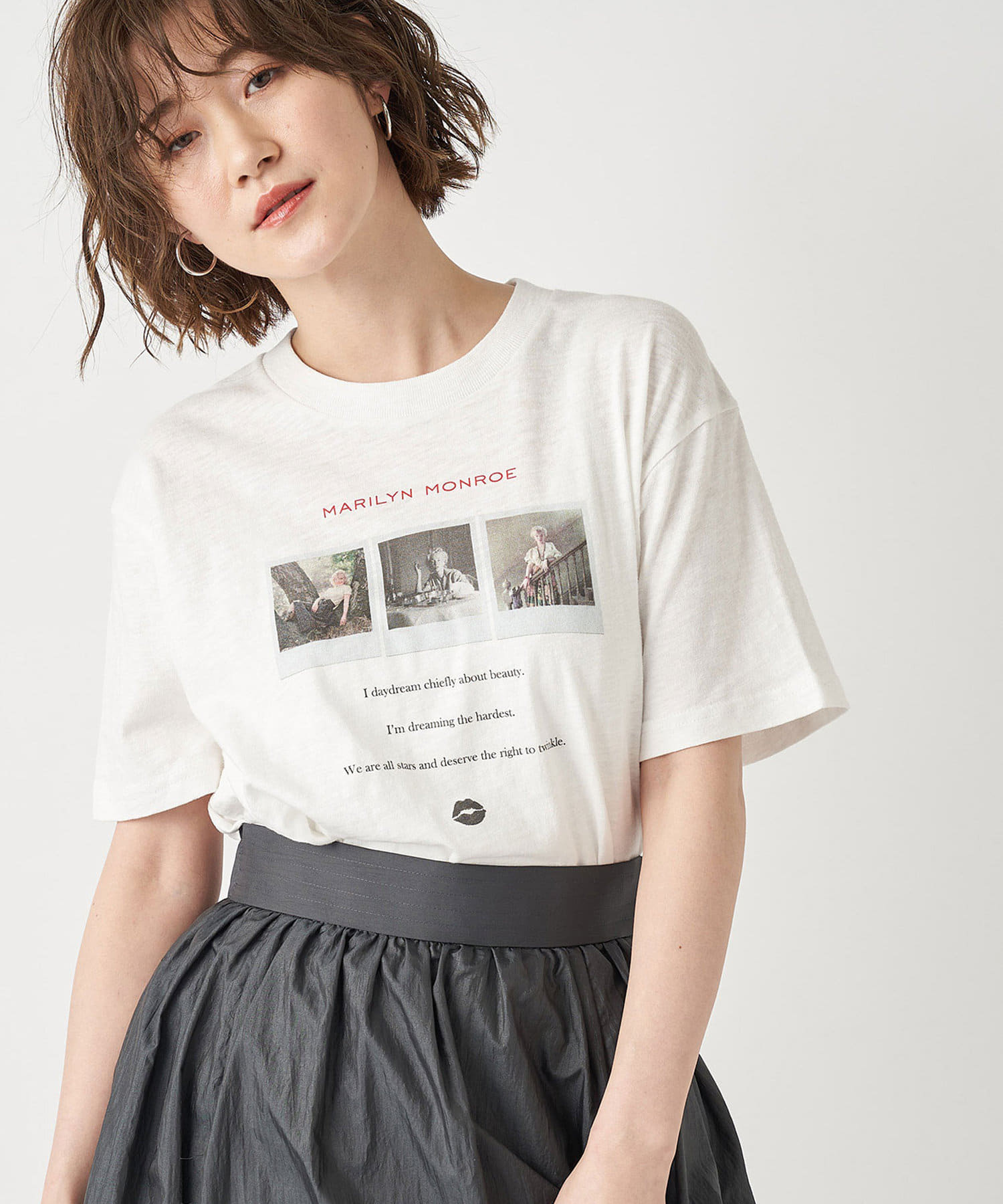 RIVE DROITE(リヴドロワ) レディース 【GOOD ROCK SPEED】MARILLINフォトTシャツ オフホワイト