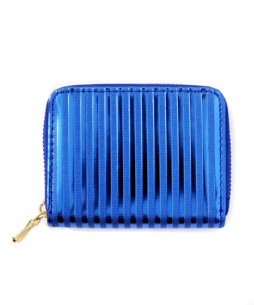ASOKO(アソコ) レディース メタリックボーダー財布 ブルー