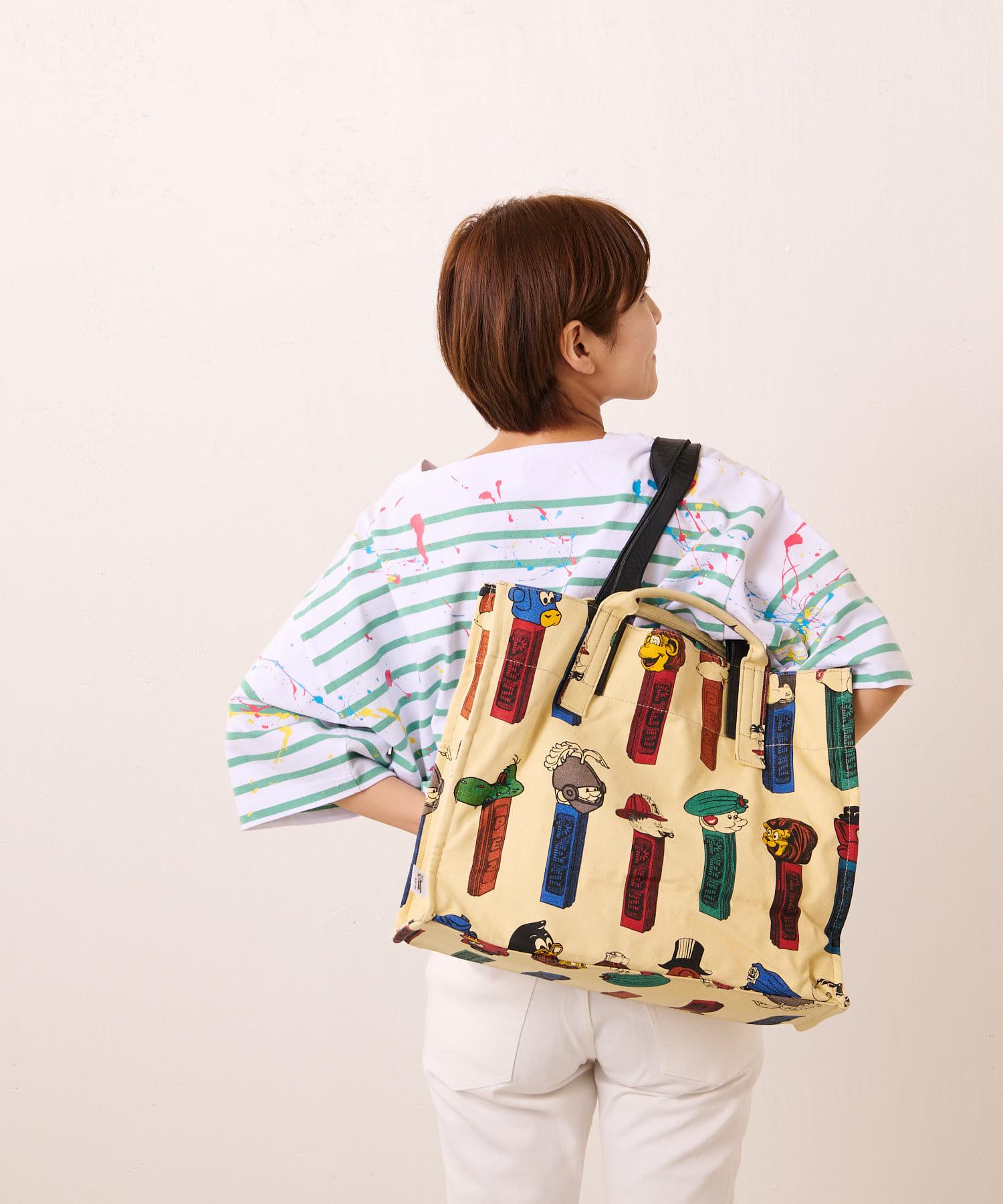 ear PAPILLONNER(イア パピヨネ) 【PEZ(ペッツ)×ear】リバーシブルビッグコットントートバッグ