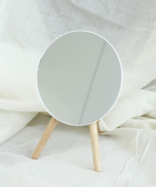 salut!(サリュ) ライフスタイル 【人気のテーブルミラー】スタンドバンブーミラー ホワイト
