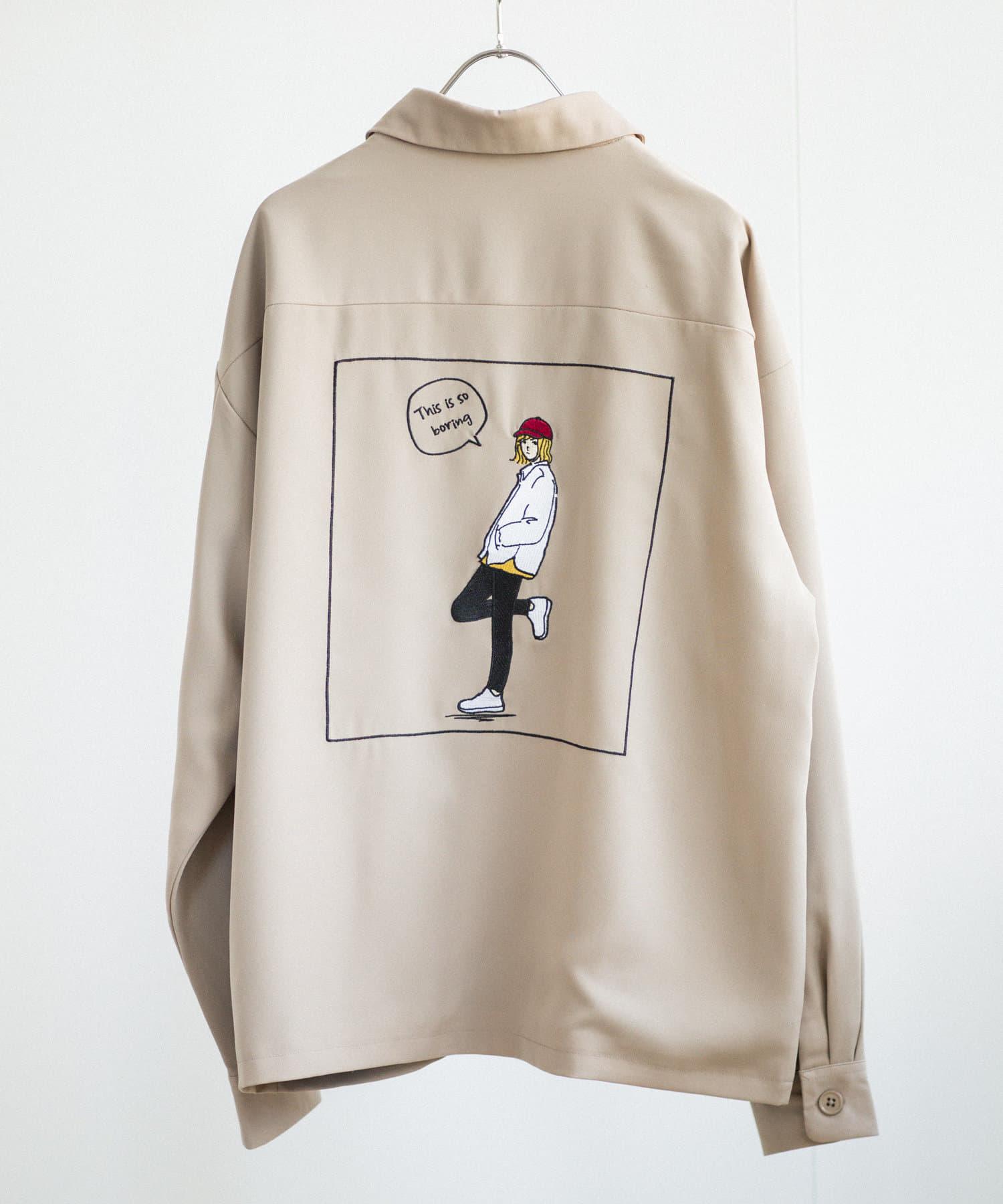 CPCM(シーピーシーエム) バックガール刺繍ドリズラージャケット