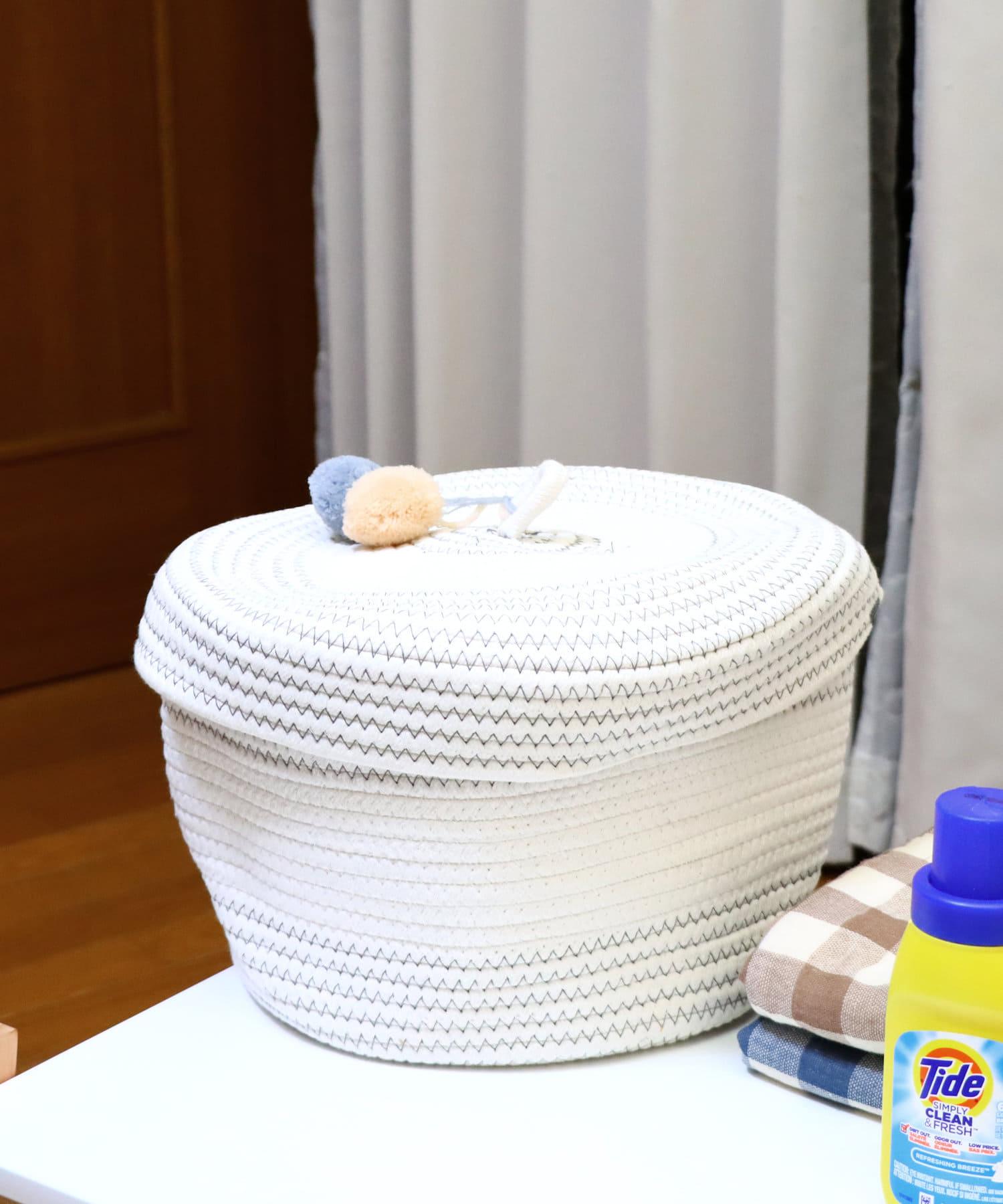 salut!(サリュ) ライフスタイル ふた付きロープバスケット ホワイト