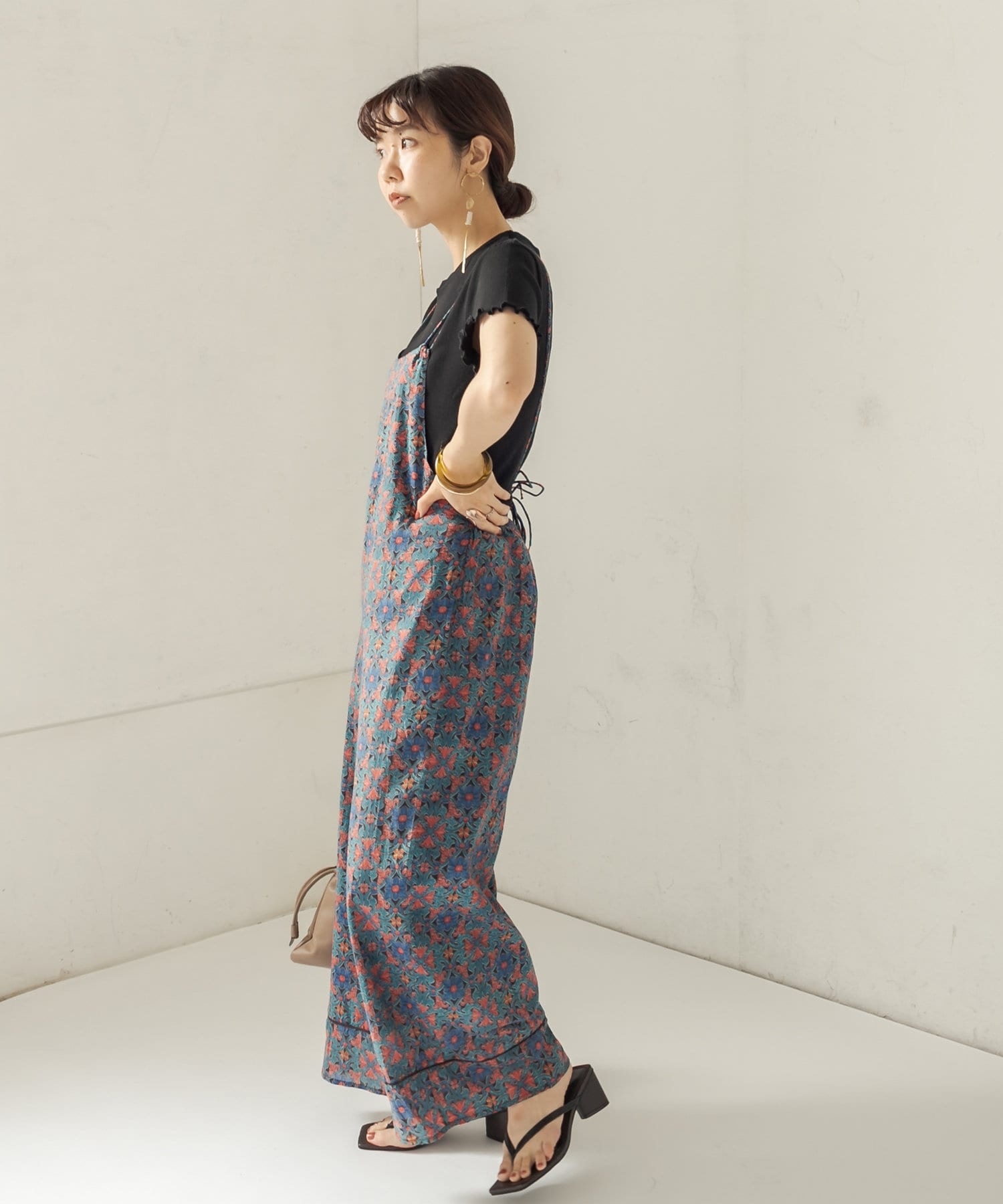 CAPRICIEUX LE'MAGE(カプリシュレマージュ) 〈WEB限定/イエロー〉メキシカン柄サロペット