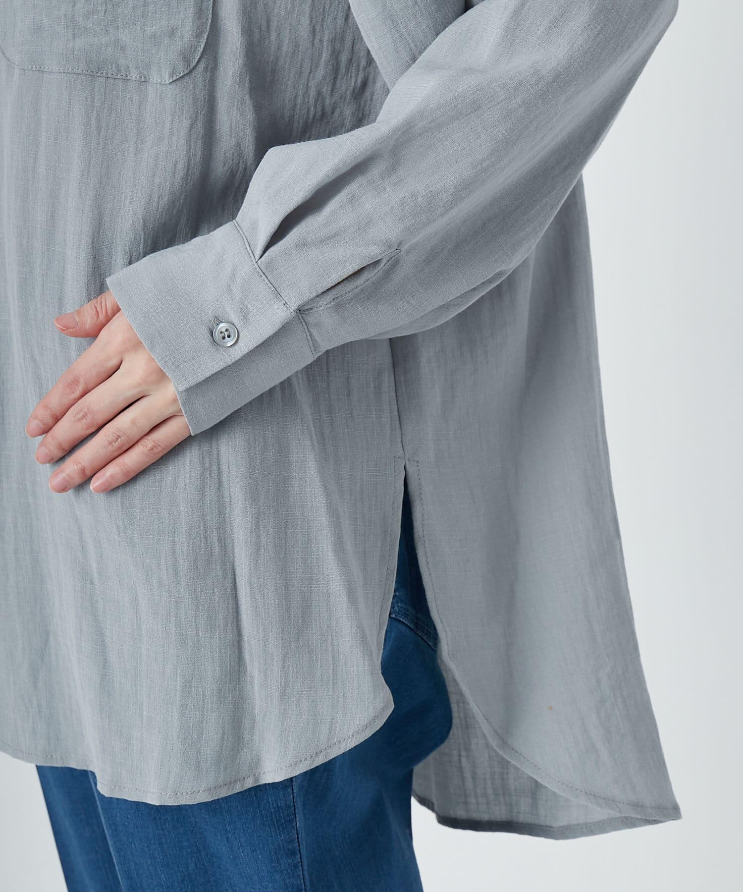un dix cors(アンディコール) 動画付き【《上品な大人カジュアル》洗える】リネンライクバンドカラーシャツ