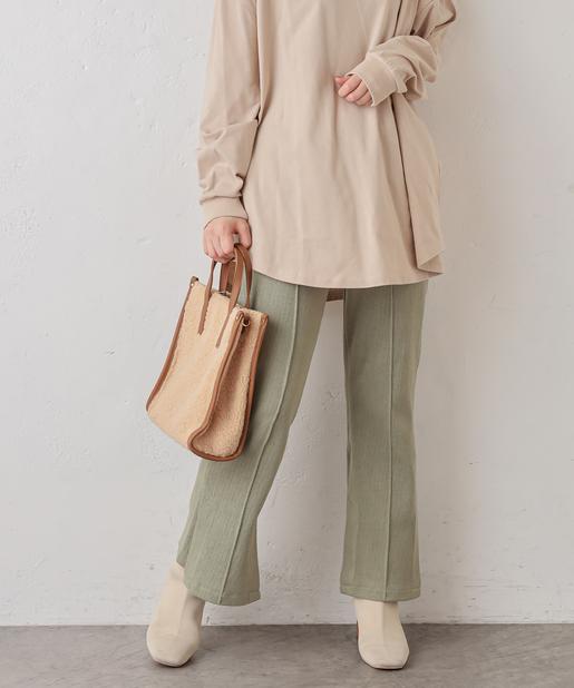 natural couture(ナチュラルクチュール) Wスリットヘリンボーンカットパンツ