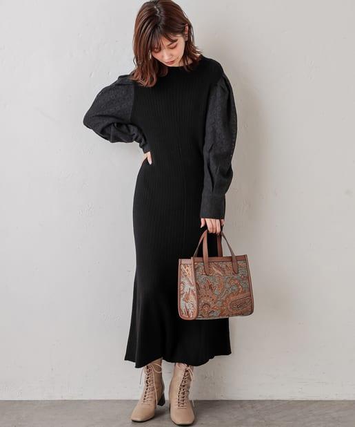 natural couture(ナチュラルクチュール) 【WEB限定】袖レースニットワンピース
