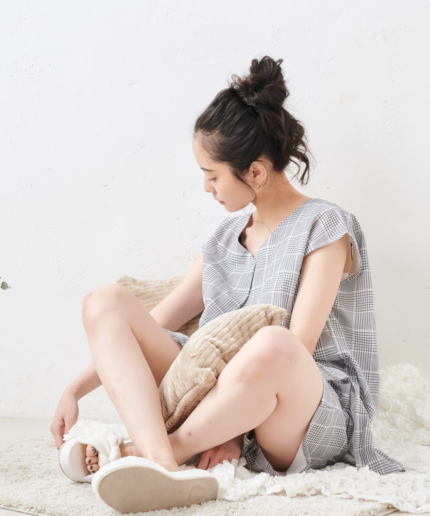 TERRITOIRE(テリトワール) 【サマーコットン】オリジナル柄ふんわりガーゼチュニック ルームウエアセット