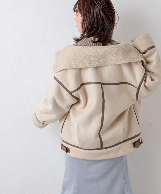 natural couture(ナチュラルクチュール) スエード×ボアフライトジャケット