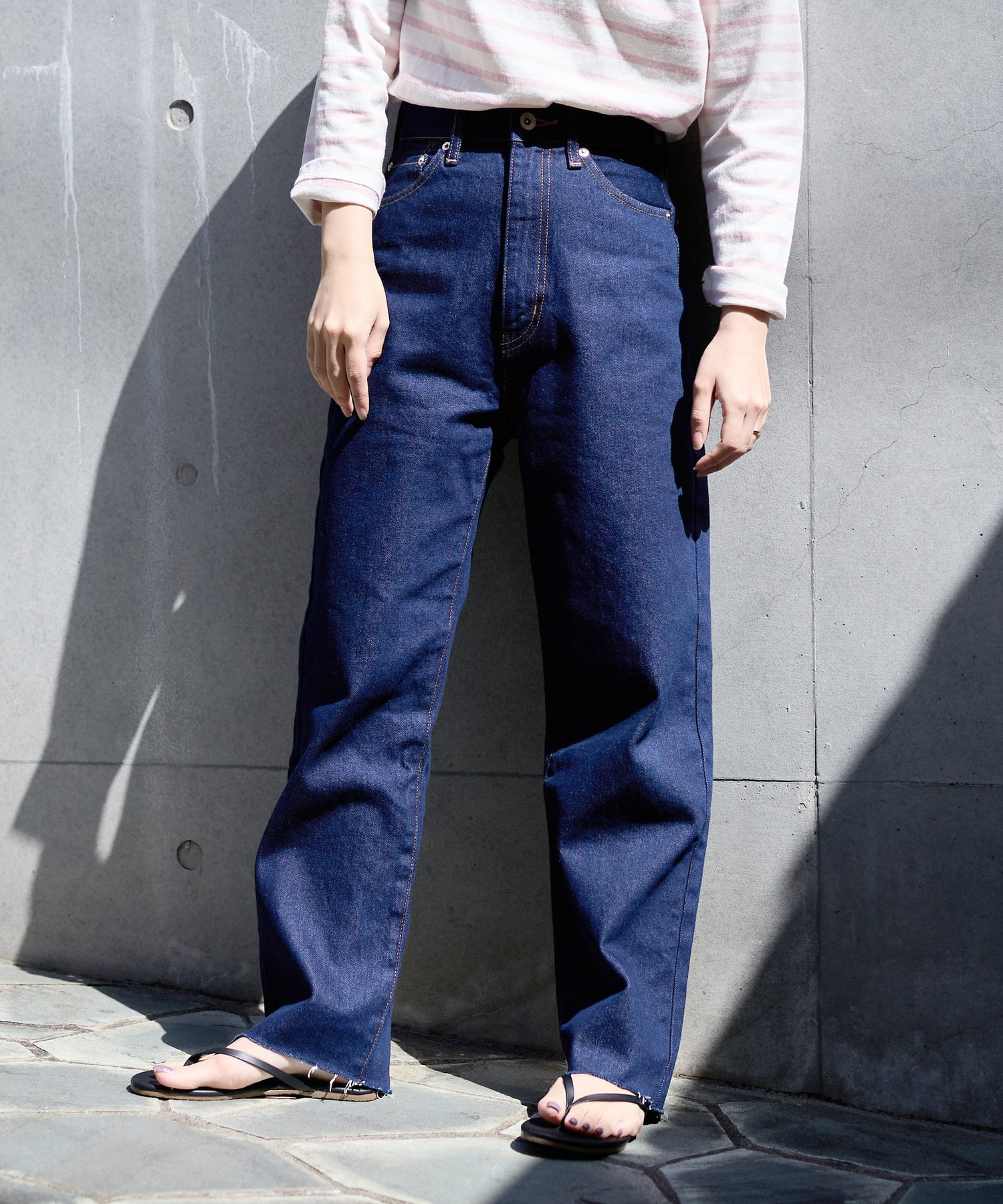 natural couture(ナチュラルクチュール) 【大人ナチュ】ピンクステッチハイウエストデニム