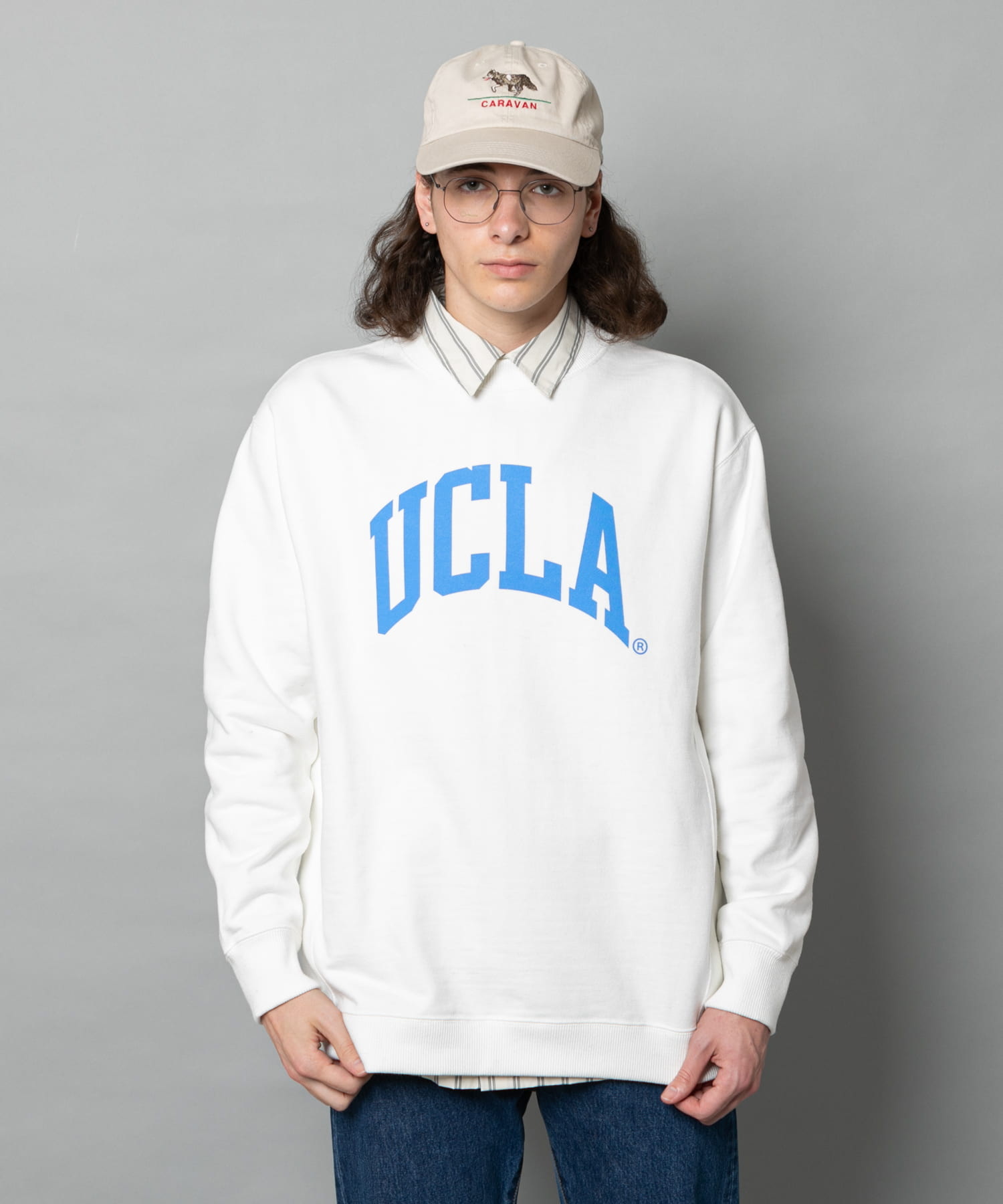 CIAOPANIC(チャオパニック) UCLA アイビーカレッジロゴクルーネックスウェット