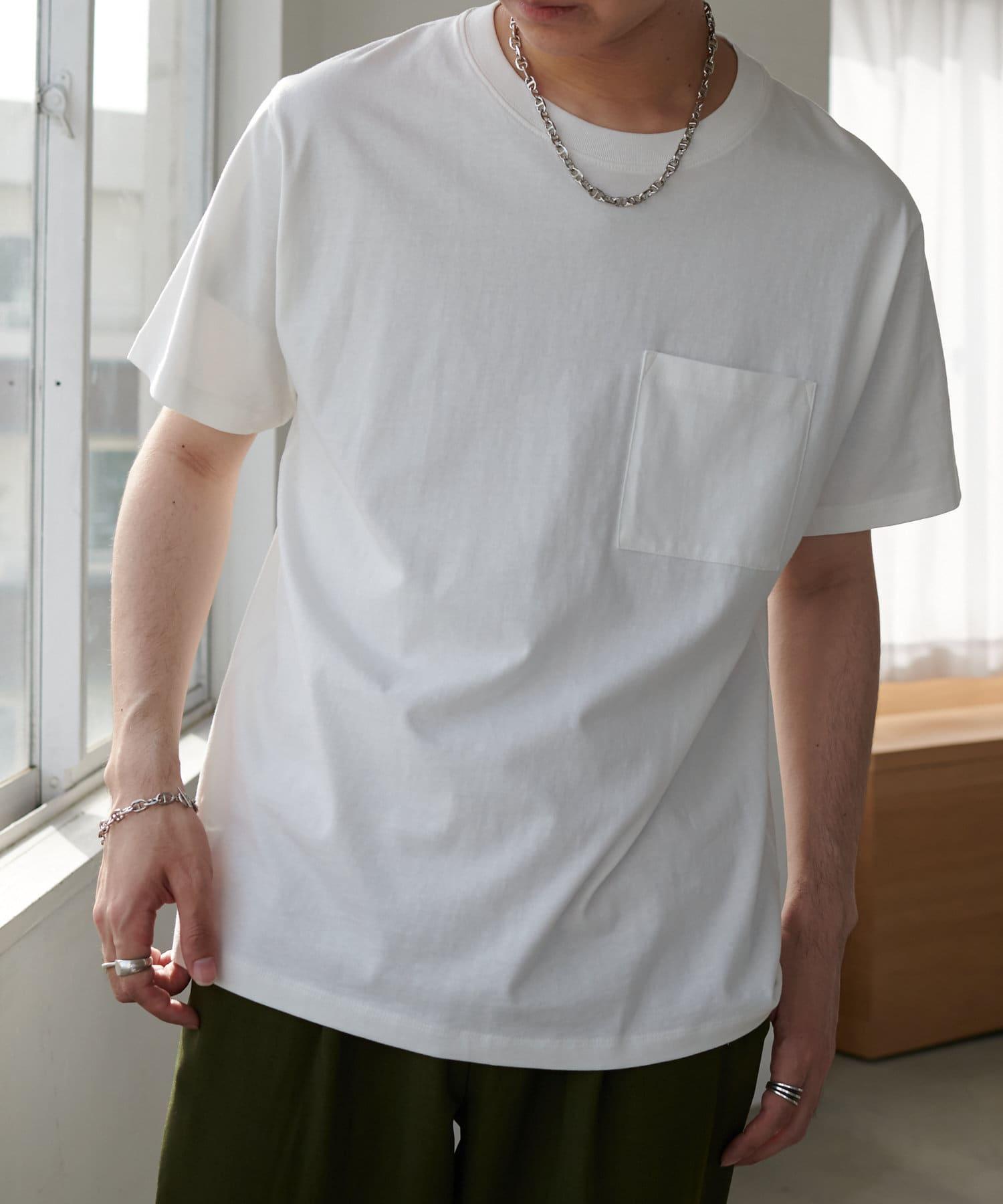 Discoat(ディスコート) メンズ USコットン胸ポケTシャツ オフホワイト