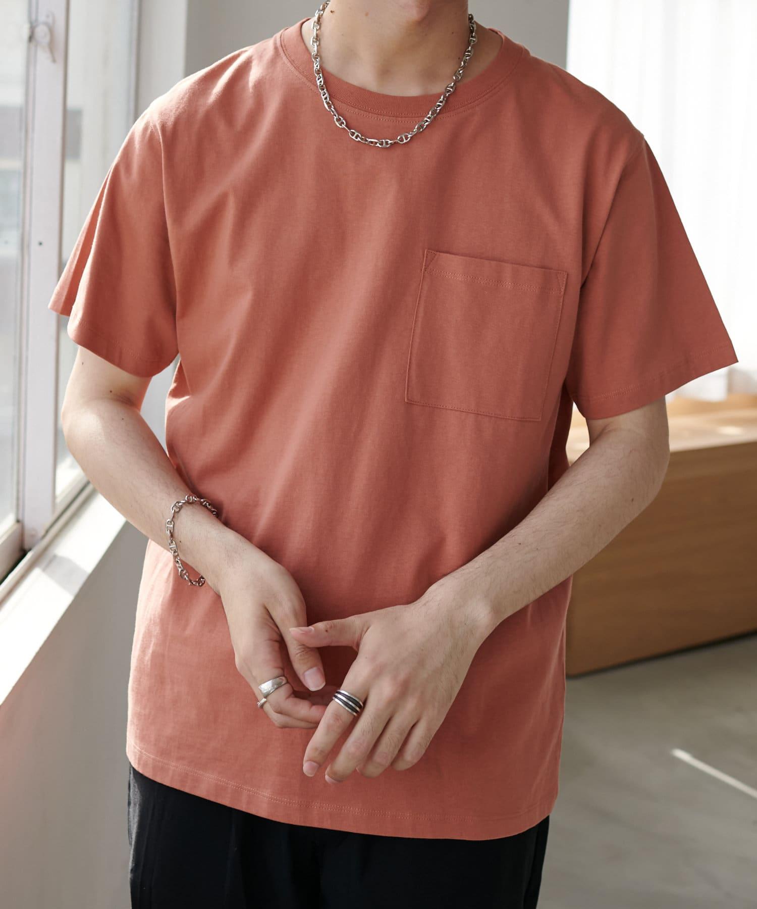Discoat(ディスコート) メンズ USコットン胸ポケTシャツ オレンジ