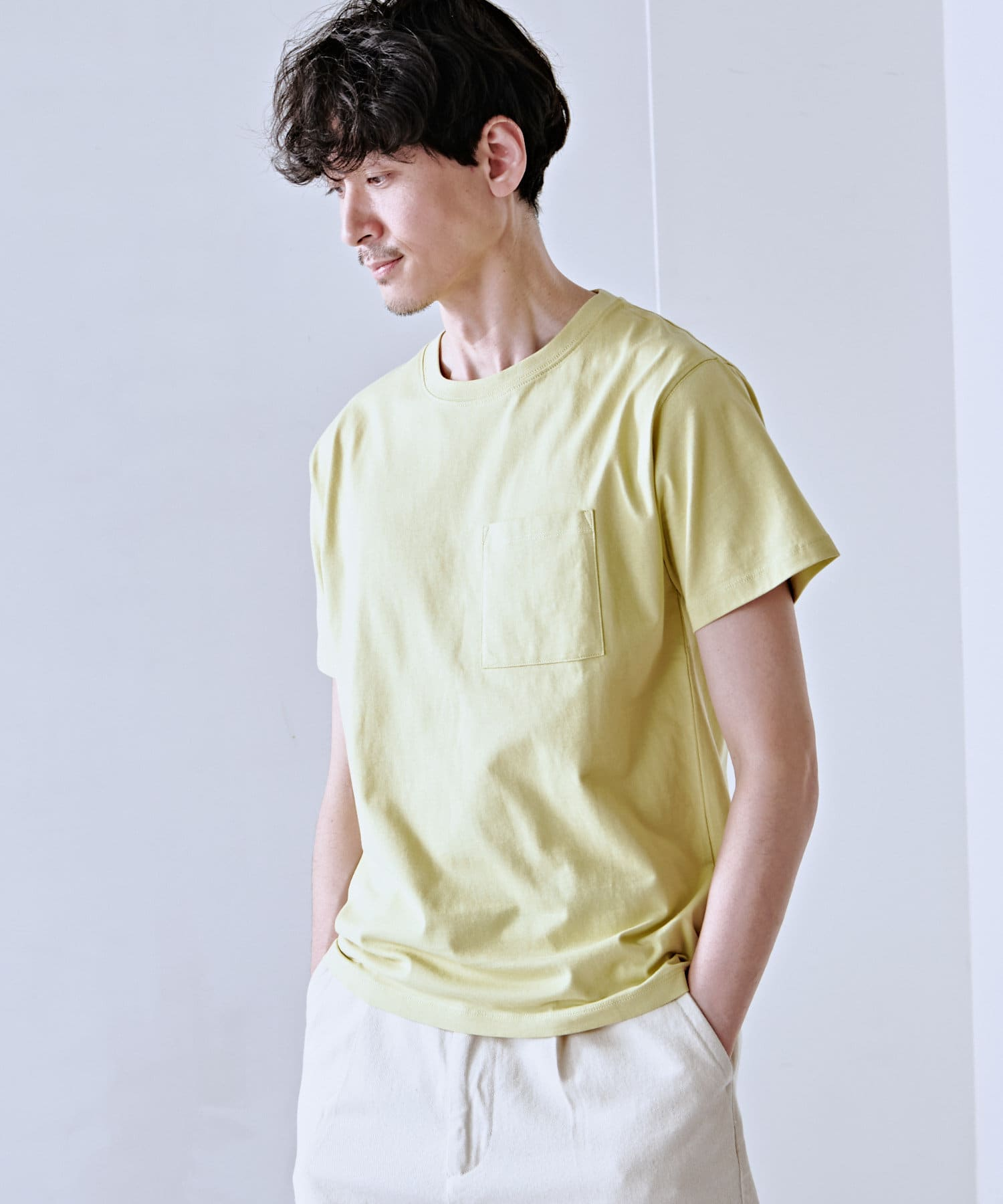 Discoat(ディスコート) メンズ USコットン胸ポケTシャツ ライムグリーン