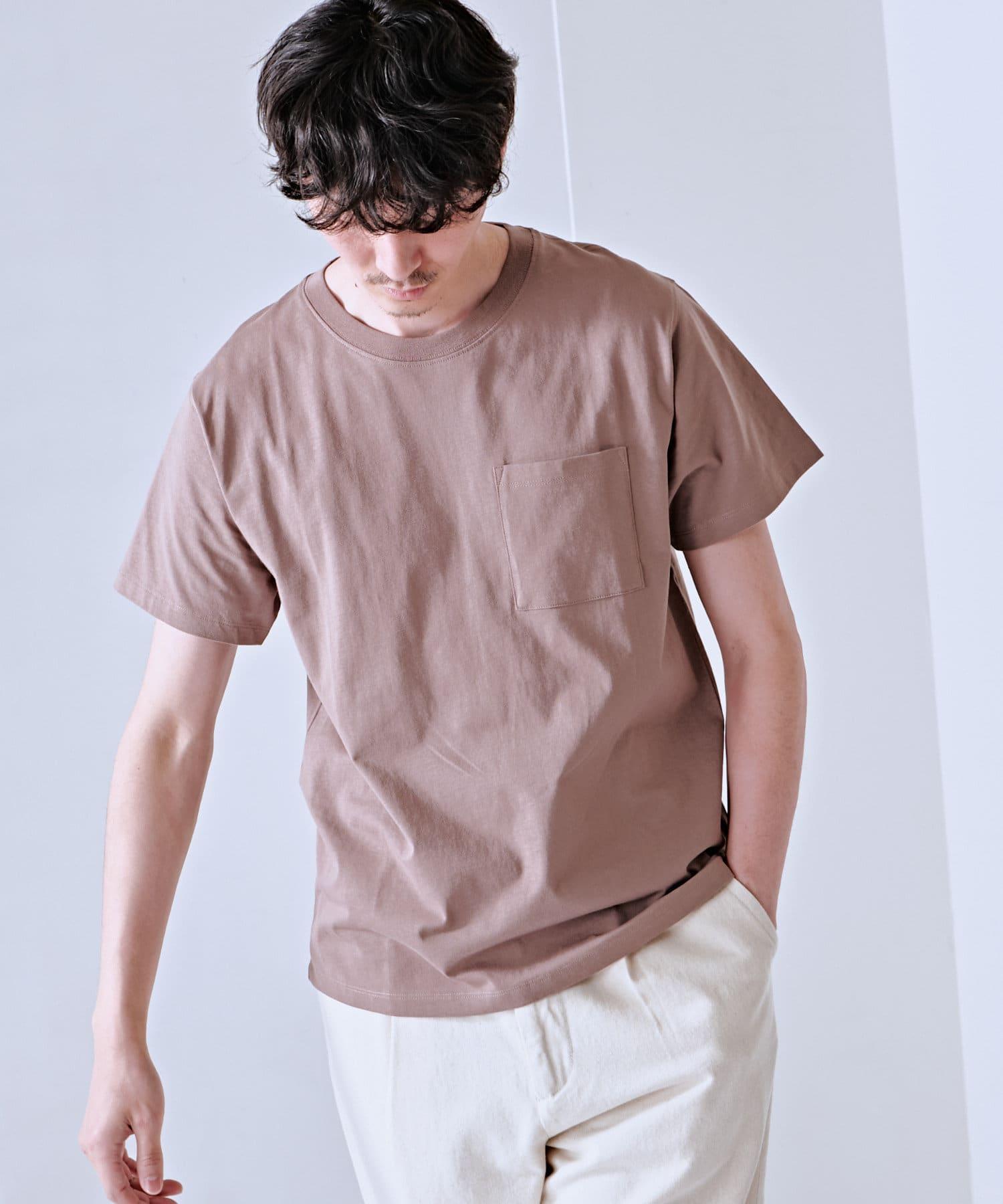 Discoat(ディスコート) メンズ USコットン胸ポケTシャツ モカ