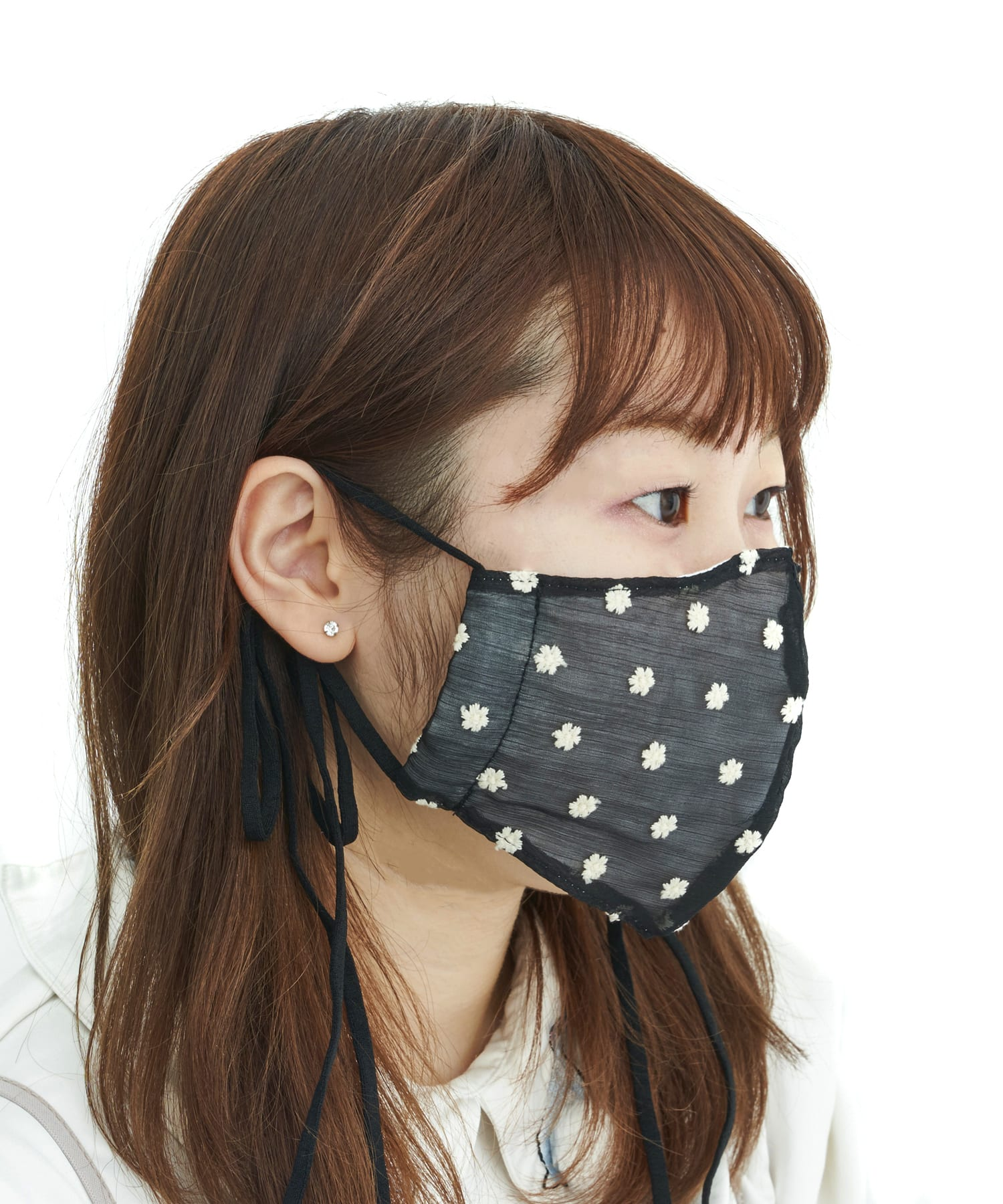 ASOKO(アソコ) レディース 《刺繍がポイント!》フラワーオーガンジーマスク ブラック
