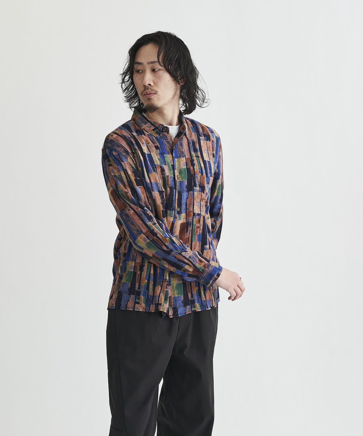 CPCM(シーピーシーエム) パッチワーク柄長袖シャツ