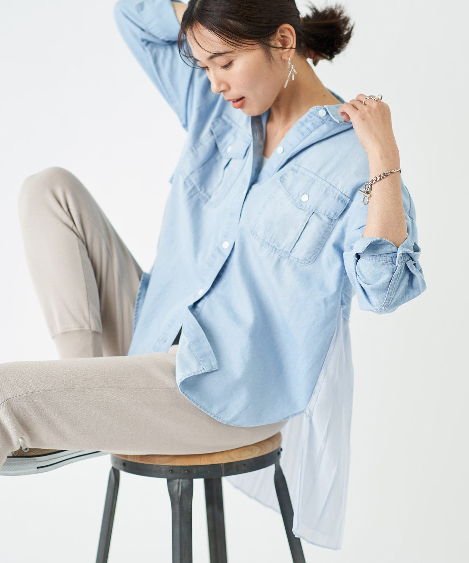 RIVE DROITE(リヴドロワ) 【大好評につき追加生産!】バックプリーツシアーシャツ