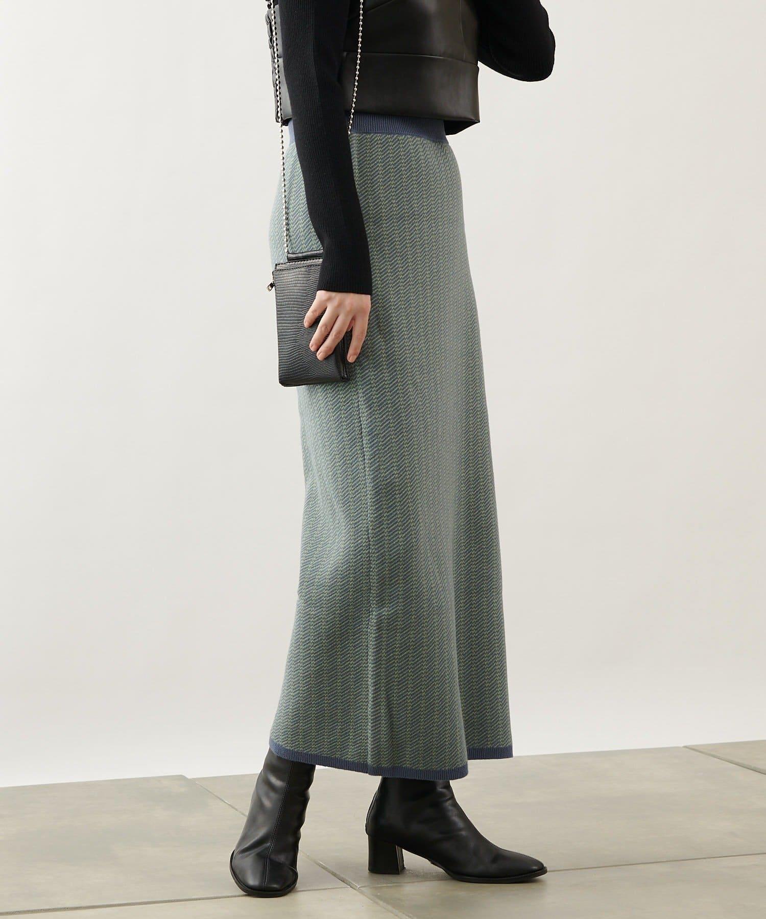 COLONY 2139(コロニー トゥーワンスリーナイン) レディース バイカラージャガードニットスカート(セットアップ可) ブルー