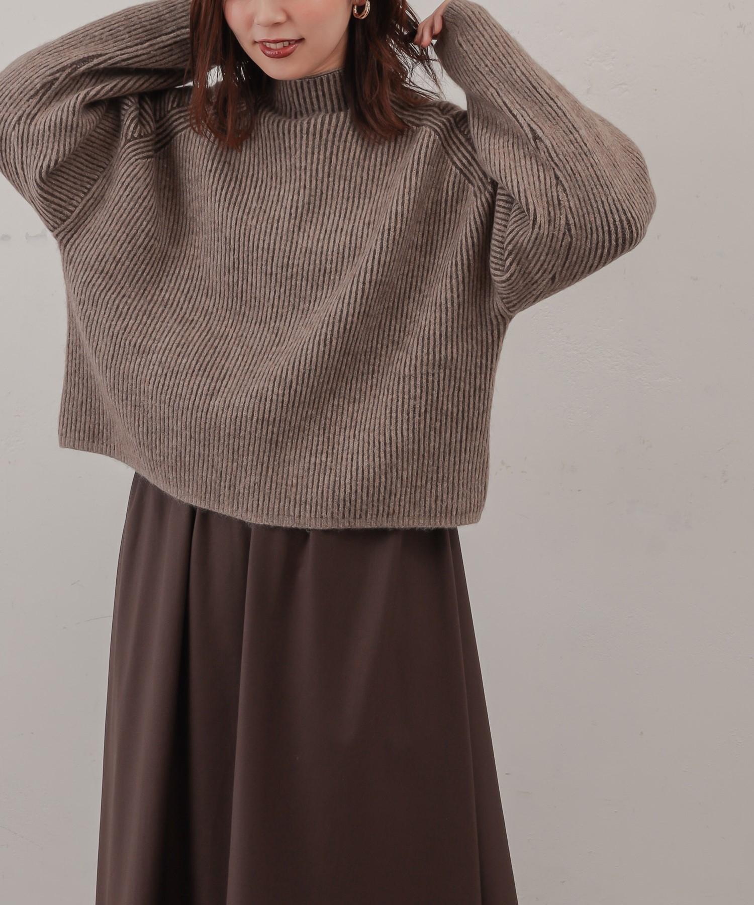 natural couture(ナチュラルクチュール) 【大人ナチュ】ボトルネックストライプニット