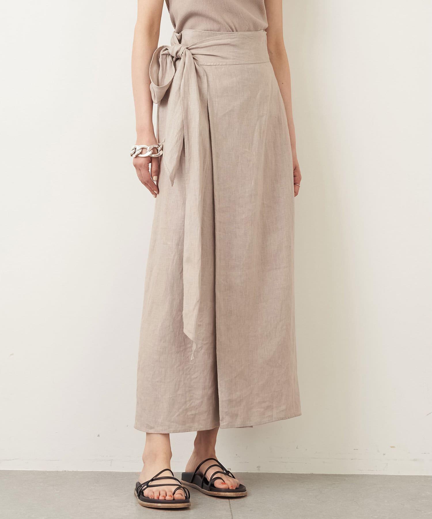 Whim Gazette(ウィム ガゼット) 《WEB限定》リネンキャンバスラップデザインスカート