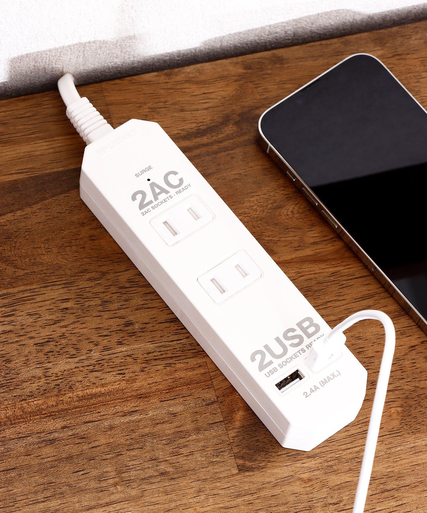 3COINS(スリーコインズ) ライフスタイル 2口AC+2口USBポートタップ1m ホワイト