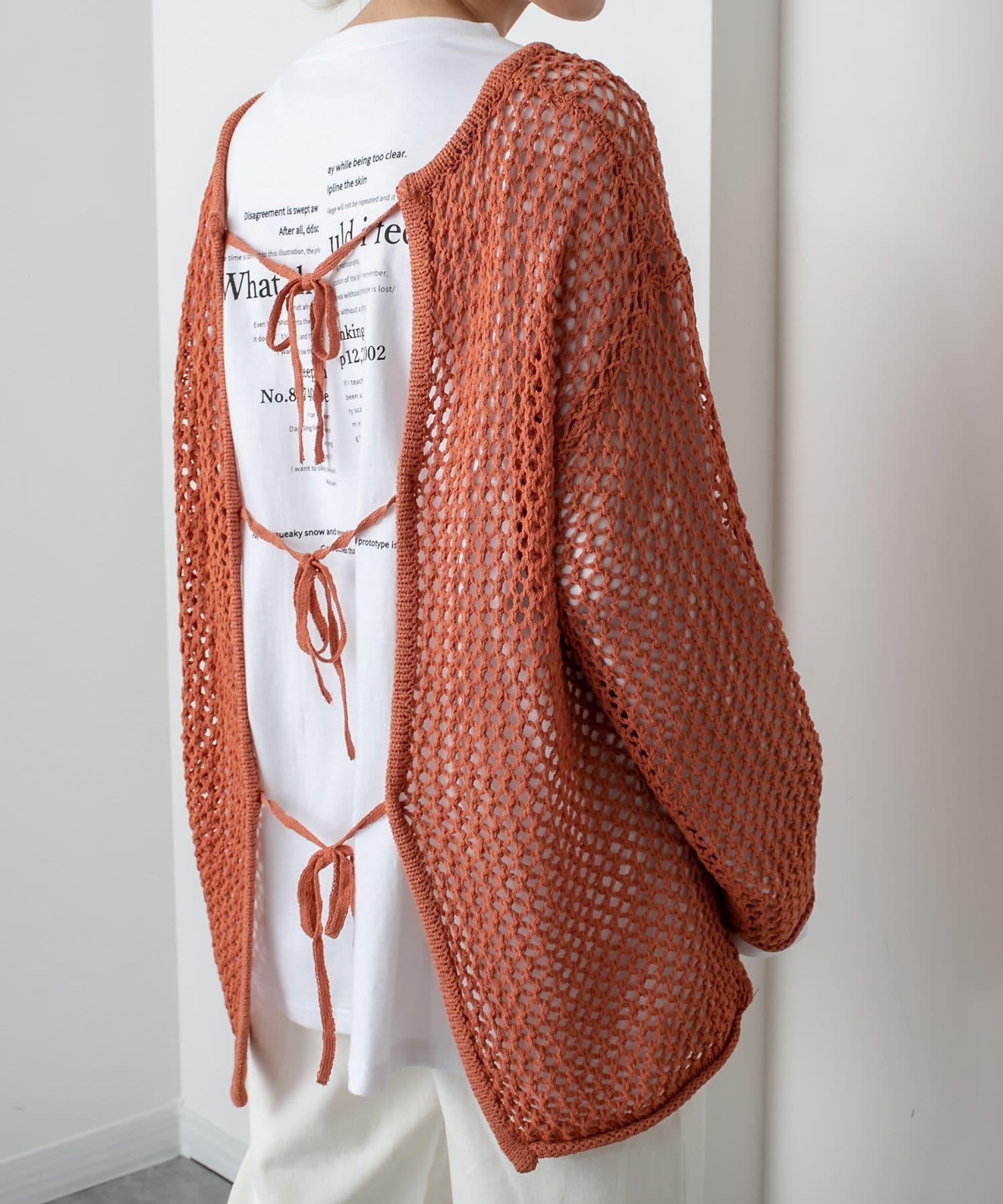 RASVOA(ラスボア) 透かし編みバックリボントップス