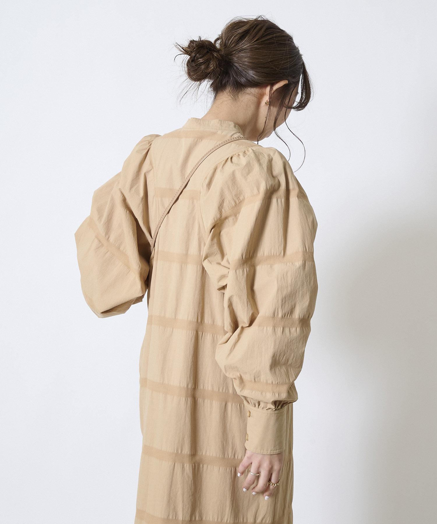 DOUDOU(ドゥドゥ) ボーダー織りパフギャザーワンピース