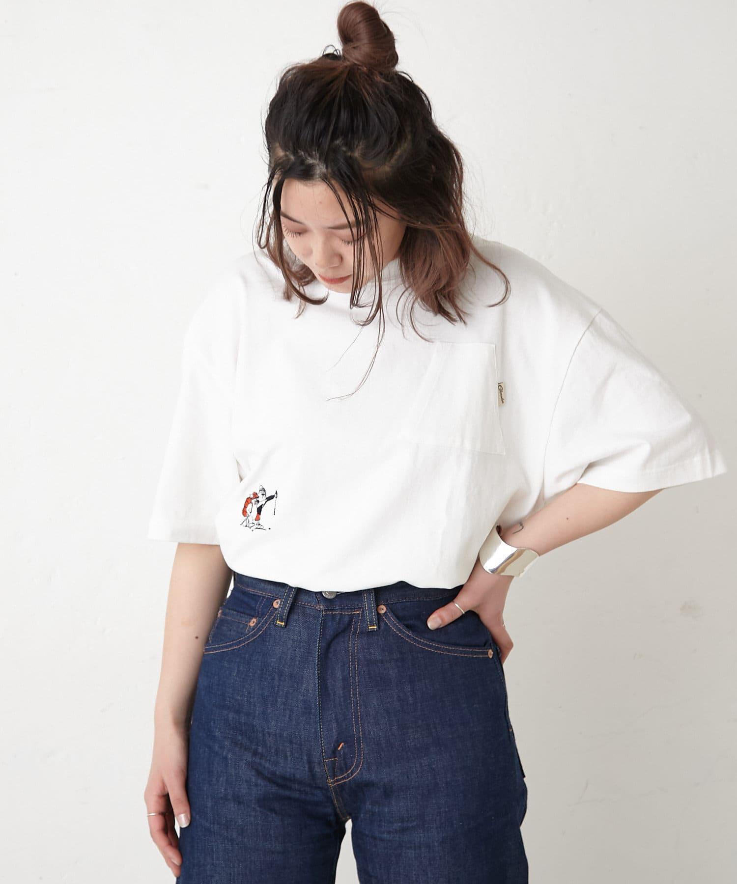 ear PAPILLONNER(イア パピヨネ) レディース 【COB MASTER(コブマスター)】山ポケット&刺繍Tシャツ ホワイト