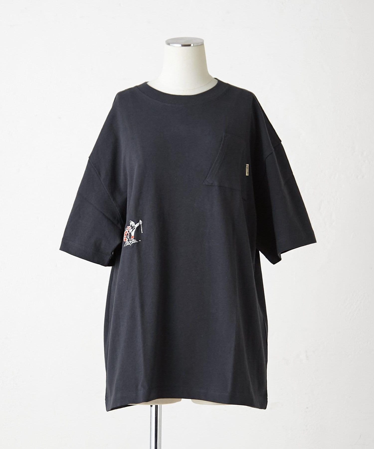 ear PAPILLONNER(イア パピヨネ) レディース 【COB MASTER(コブマスター)】山ポケット&刺繍Tシャツ ブラック