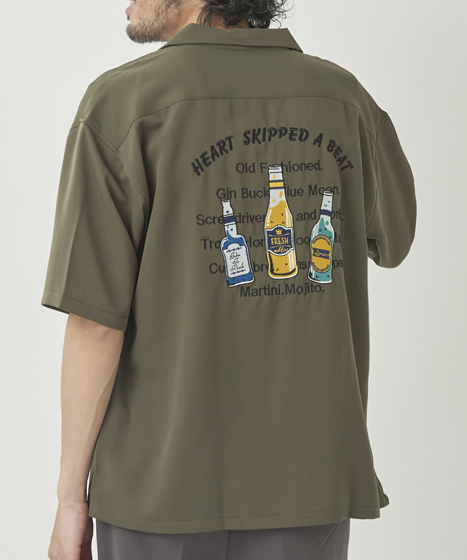 CPCM(シーピーシーエム) バックボトル刺繍半袖シャツ