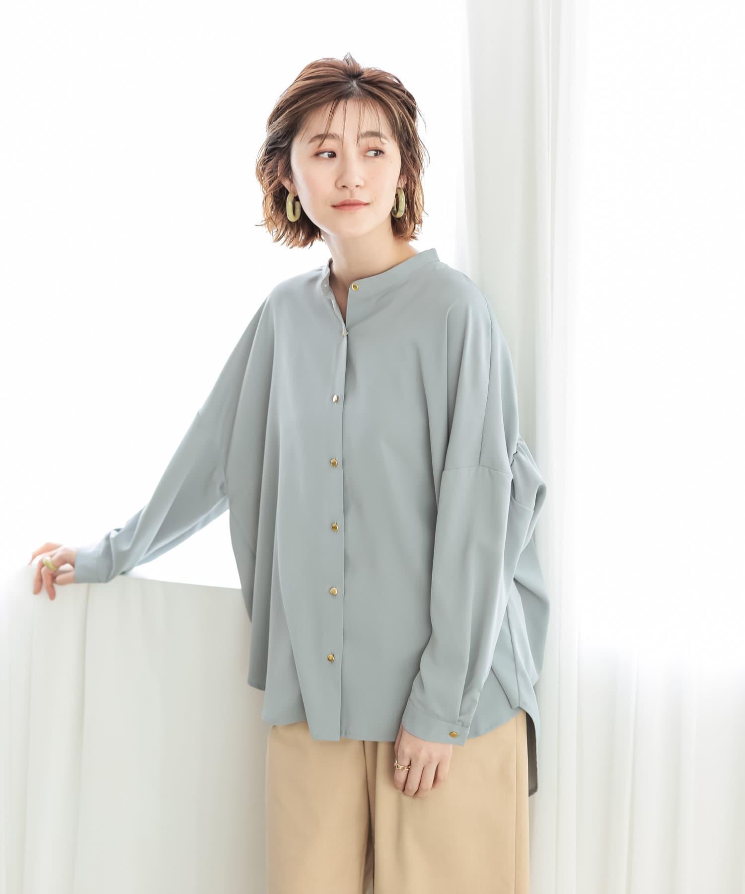 un dix cors(アンディコール) 【《女性らしさを叶える素材感》洗える】バックギャザートロミシャツ