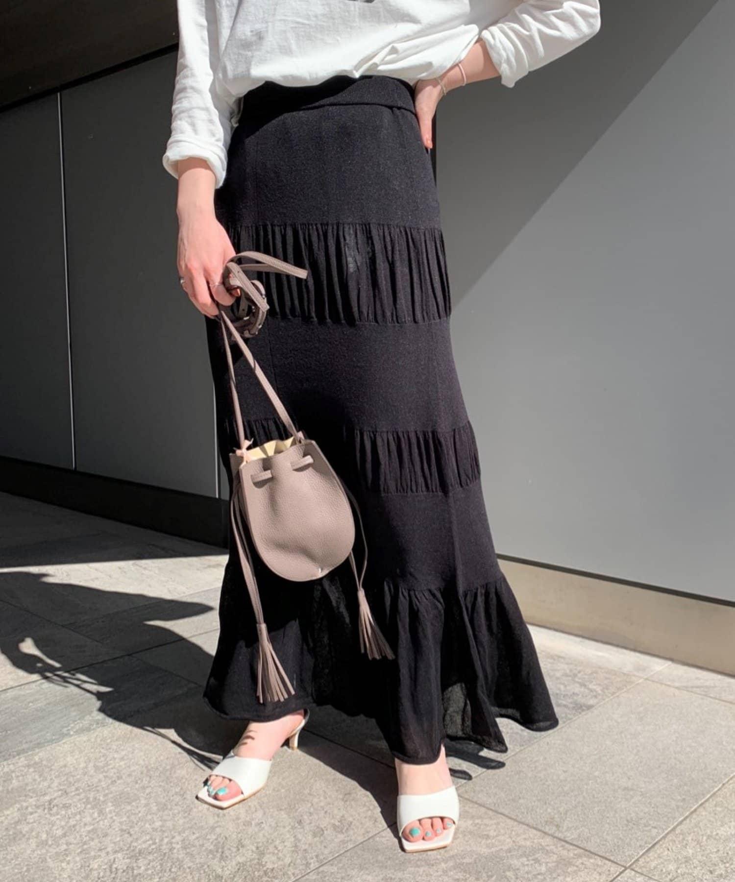 SHENERY(シーナリー) レーヨン混ティアードニットスカート