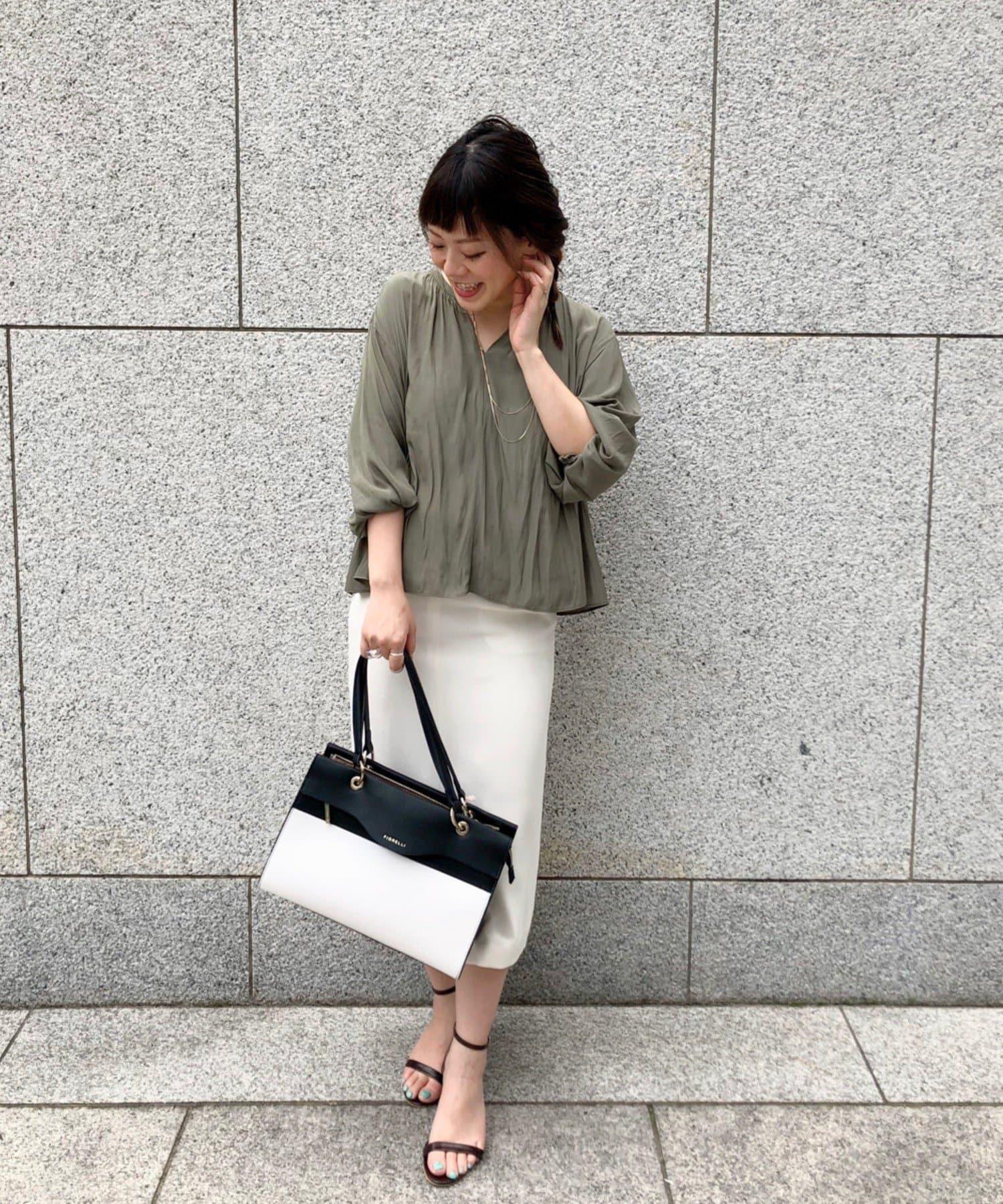OUTLET premium(アウトレット プレミアム) 【すっきりしたシルエット】麻調ナロースカート